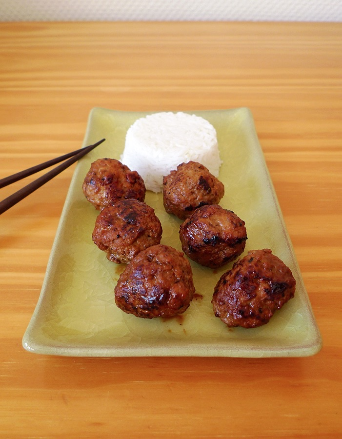 Boulettes viande sauce-soja